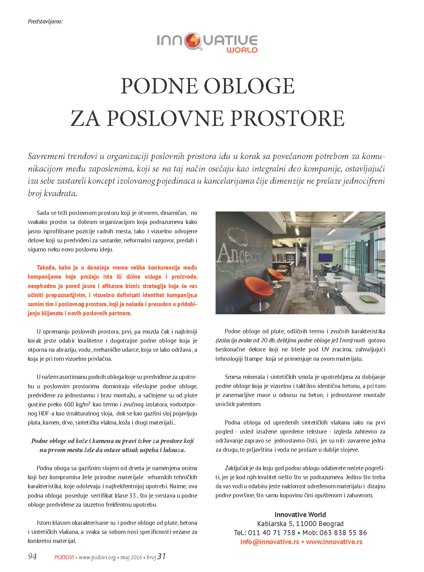 Innovative World – Podne obloge za poslovne prostore